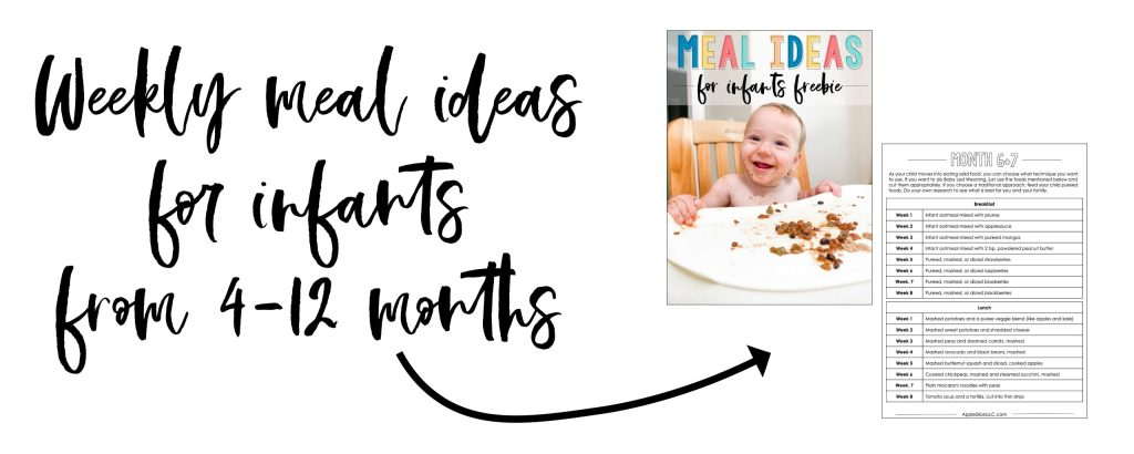 Weekly meal ideas for infants from 4-12 months