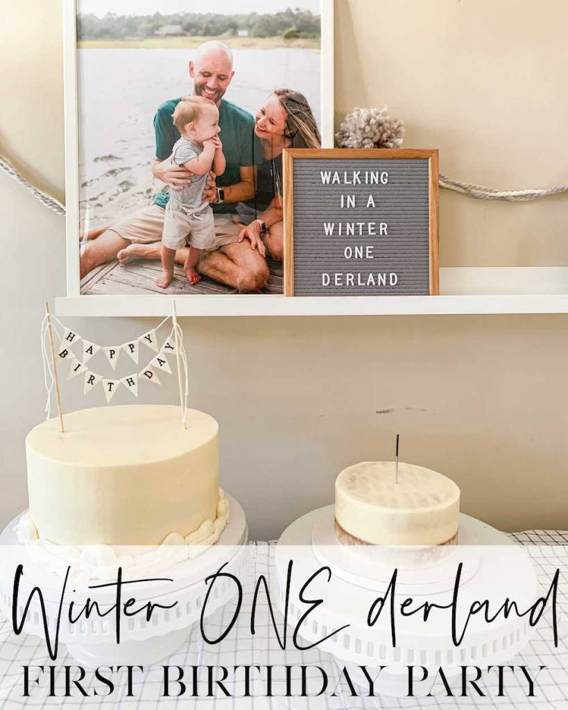 Walking in a winter onederland first birthday party Pinterest Image for pinning.