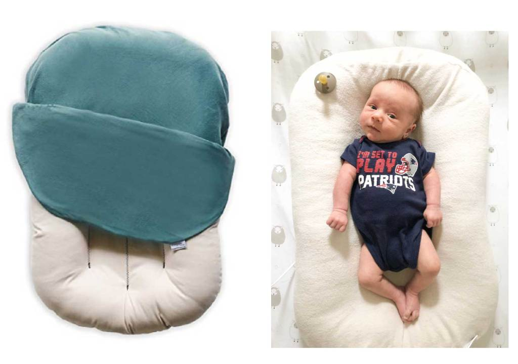My favorite items for baby's first month. This Snuggle Me Organic is perfect for helping a baby snuggle in their crib.