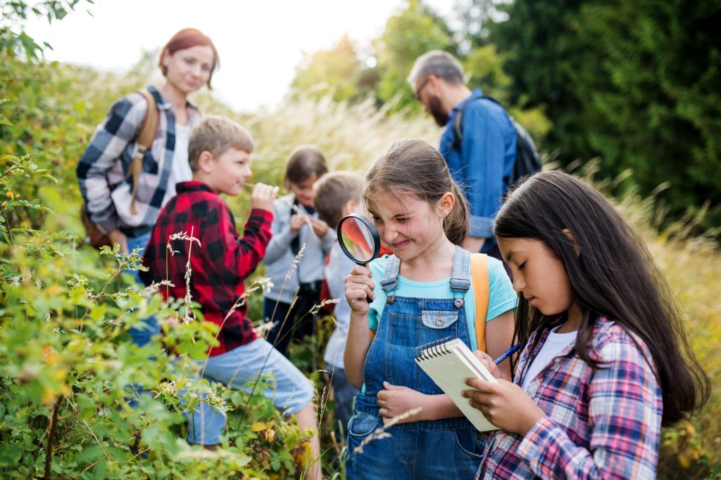 Let your children learn from other teachers in order to increase the vocabulary they hear and learn. A group of small school children with teacher on field trip in nature, learning science.