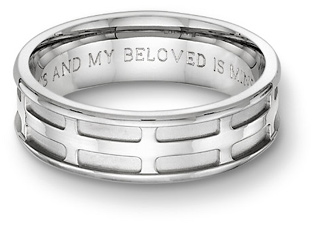 Parisian cross engraved bible. mens wedding ring
