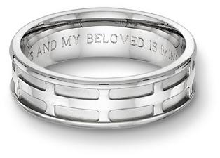 Parisian cross engraved bible. mens wedding ring