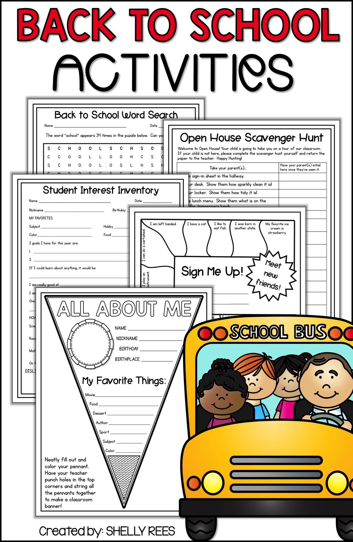 Back To School Activities For Elementary Teachers