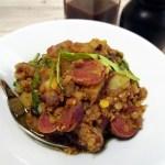 linsensalat warm mit chorizo und rucola