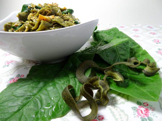 pasta mit lachs und spinat kraeuterpasta