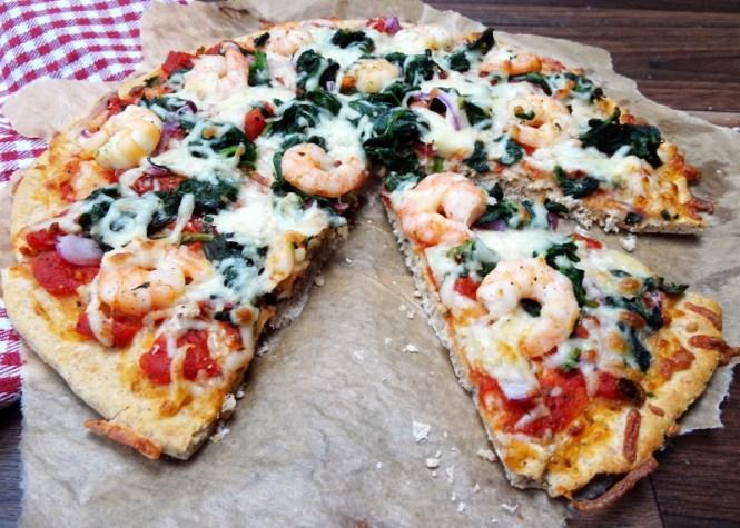 Pizza Teig ohne Hefe, schnell und mit Garnelen