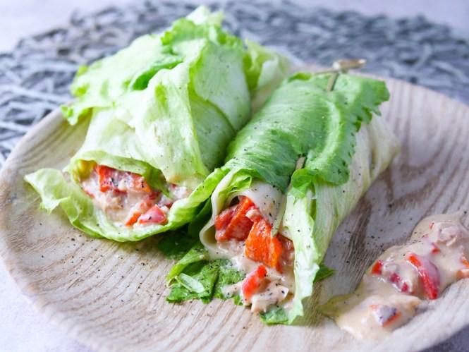 low carb frühstück salat wrap