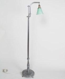 Silver Art Deco Lamp with Aqua Shade