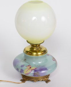 Picture of Blue gone with wind Lamp with Autumn Leaves and Yellow frosted Shade.