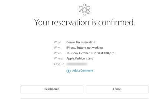 Apple Store Genius Termin Reservierung bestätigt