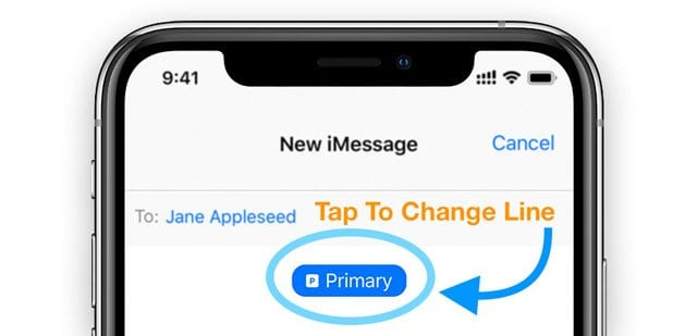 change dual sim or sim line on iMessage
