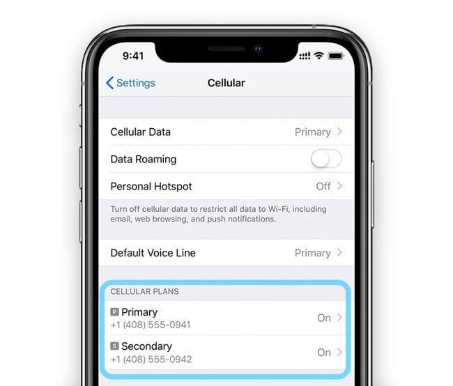 Manage Cellular Plans on Dual SIM or eSIM iPhone