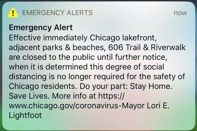 emergency alert from local city government