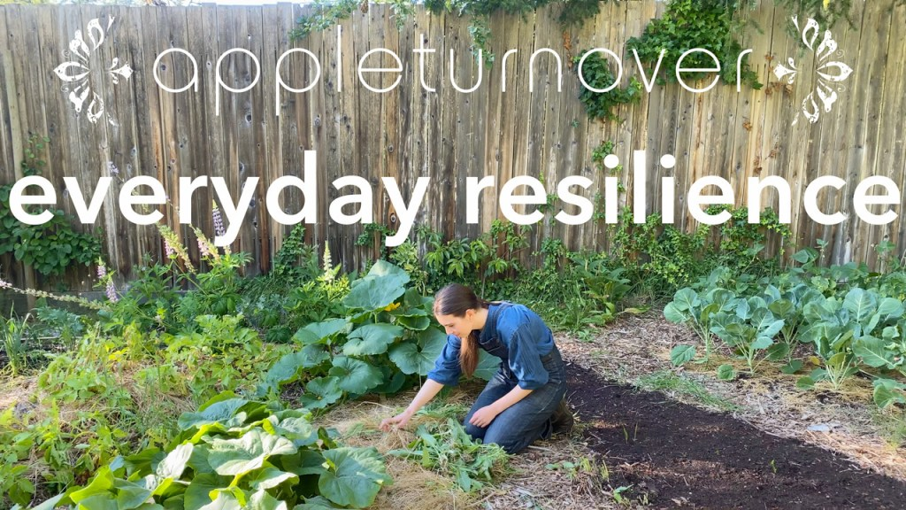 appleturnover logo. film title: everyday resilience. below Lael working in the vegetable garden