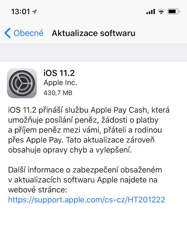 aktualizace iOS 11.2
