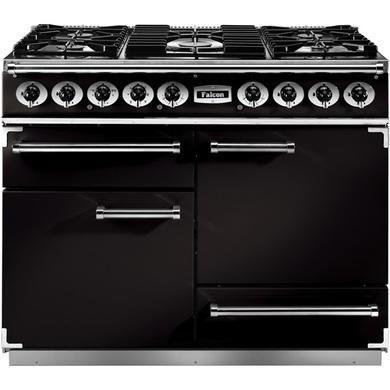 Falcon 76810 - 1092 Deluxe 110cm Dual Fuel Range Cooker - Black And Brass - Matt Pan Stands