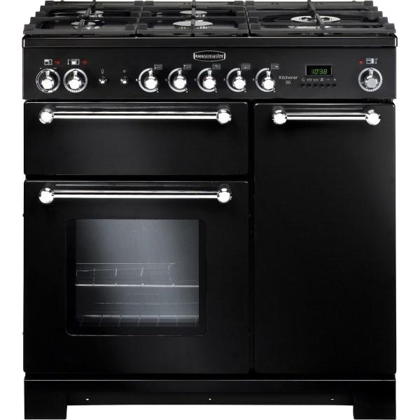 Rangemaster 81420 Kitchener 90cm Duel Fuel Range Cooker In Black