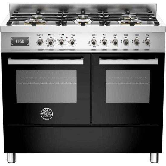 Bertazzoni PRO100-6-MFE-D-NET Professional Series 100cm Black Dual Fuel Double Oven Range Cooker