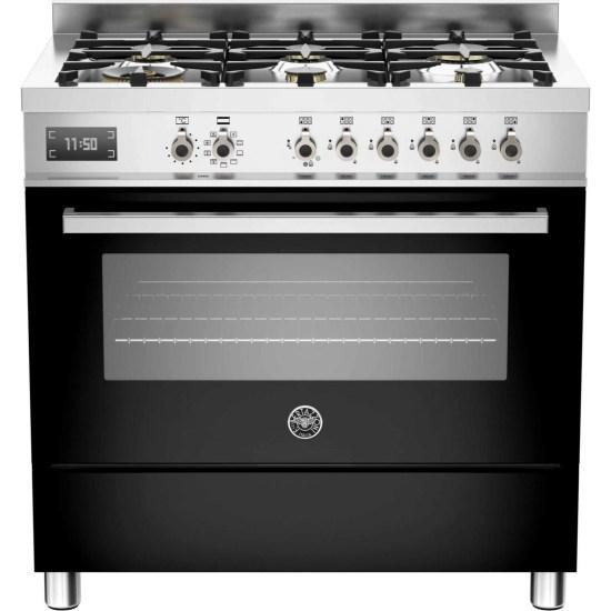 Bertazzoni PRO90-6-MFE-S-NET Professional Series Black 90cm Dual Fuel Single Oven Range Cooker