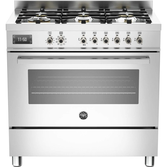 Bertazzoni PRO90-6-MFE-S-XT Professional Series Stainless Steel 90cm Dual Fuel Single Oven Range Cooker