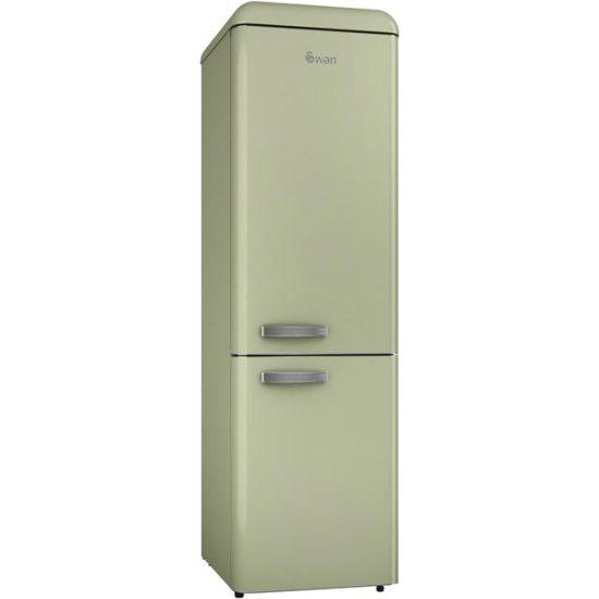 Swan Retro Slimline SR11025GN Free Standing Fridge Freezer in Green