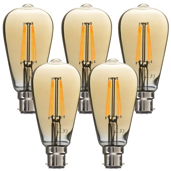 electriQ Smart dimmable Wifi filament bulb with B22 bayonet fitting - 5 Pack