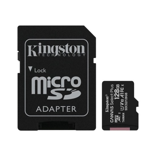 Kingston Canvas Select Plus 128GB UHS-I Micro SD Memory Card + SD Adapter