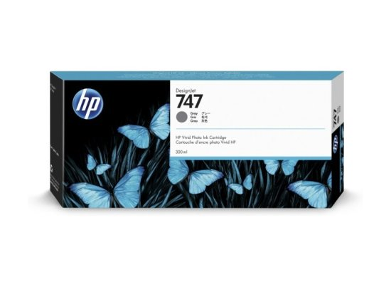 HP 747 Gray Original Designjet Ink Cartridge - Standard Yield 300ml -