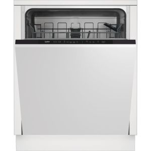 Beko DIN15R20 Fully Integrated Standard Dishwasher - Silver Control Panel with Fixed Door Fixing Kit - A++ Rated