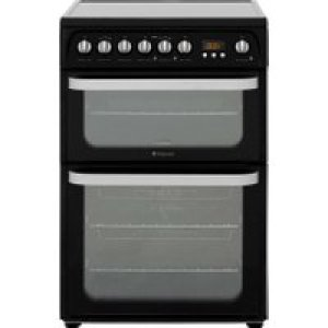 Hotpoint Ultima HUE61KS Electric Cooker with Ceramic Hob - Black - A/A Rated AO SALE