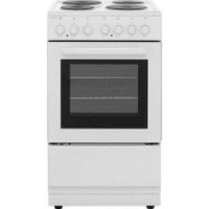 Electra SE50W 50cm Electric Cooker with Solid Plate Hob - White - A Rated AO SALE