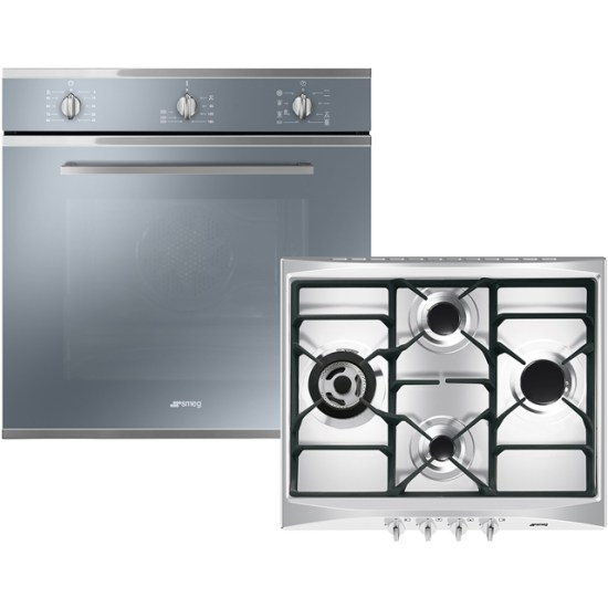 Smeg Cucina AOSF64M3G Built In Electric Single Oven and Gas Hob Pack - Stainless Steel - A Rated AO SALE