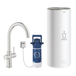 Grohe 30328DC1 Red Duo Instant Boiling Water Tap and L Size Boiler - STAINLESS STEEL