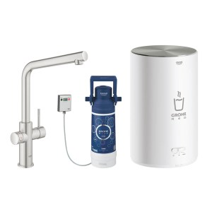 Grohe 30341DC1 Red Duo Instant Boiling Water Tap and M Size Boiler - STAINLESS STEEL