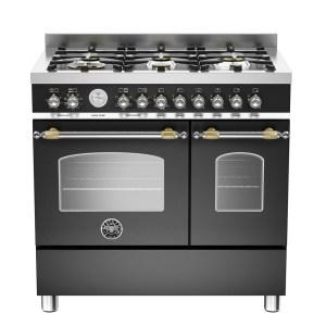 Bertazzoni HER90-6-MFE-D-NET 90cm Heritage Dual Fuel Range Cooker - BLACK