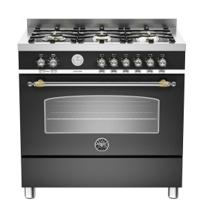 Bertazzoni HER90-6-MFE-S-NET 90cm Heritage Dual Fuel Range Cooker - BLACK
