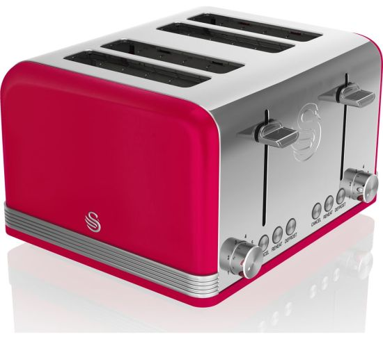 SWAN Retro ST19020RN 4-Slice Toaster - Red, Red