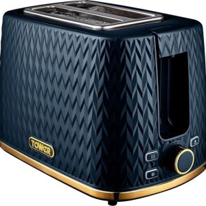 TOWER Empire Collection T20054MNB 2-Slice Toaster – Midnight Blue, Blue