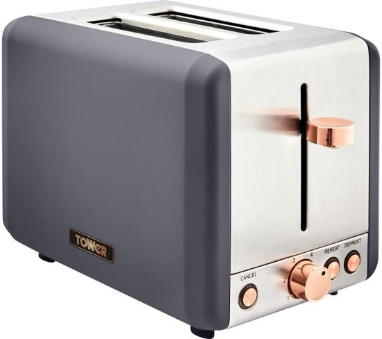 TOWER Cavaletto T20036RGG 2-Slice Toaster - Grey & Rose Gold, Grey