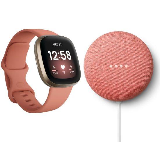 """FITBIT Versa 3 & Nest Mini (2nd Gen) Bundle - Pink Clay & Soft Gold & Coral, Pink FITBIT Versa 3 & Nest Mini (2nd Gen) Bundle - Pink Clay & Soft Gold & Coral, Pink Shop The Very Best FitBit Sale Deals Online at <a href=""""http://Appliance-Deals.com"""">Appliance-Deals.com</a> <a href=""""https://www.awin1.com/cread.php?awinmid=1599&awinaffid=792795&ued=https%3A%2F%2Fcurrys.co.uk""""><img class="""" wp-image-9780000159235 aligncenter"""" src=""""https://appliance-deals.com/wp-content/uploads/2021/03/curryspcworld_500x500_thumb.png"""" alt=""""fitbit Appliance Deals"""" width=""""112"""" height=""""112"""" /></a>"""