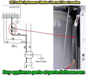 """How to locate the thermal fuse in a GE Profile """"Hydrowave"""