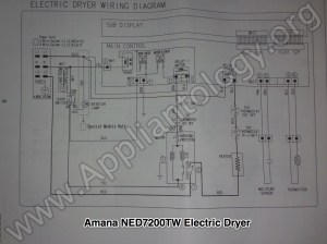 Amana NED7200TW (Samsung built) Electric Dryer Wiring