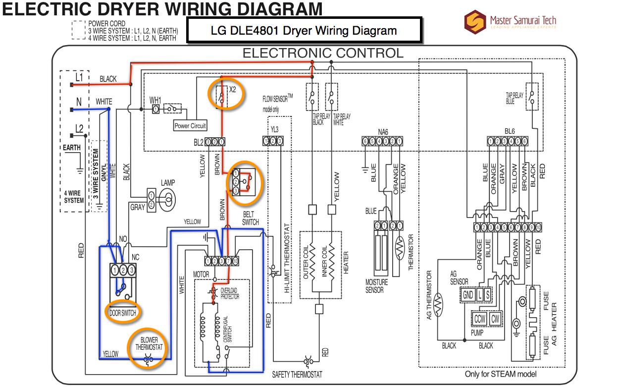 LG DLE4801 Dryer Wiring Diagram