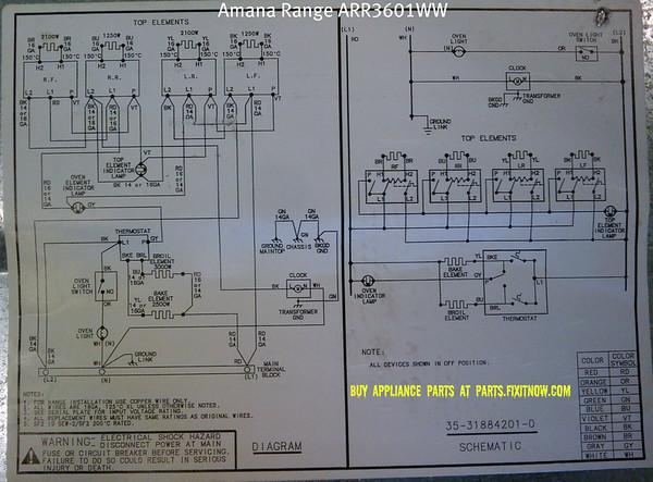 amana range model arr3601ww schematic and wiring diagram