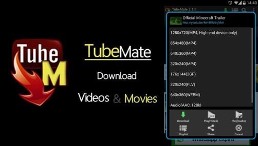 logo y opciones de descarga tubemate youtube donwloader