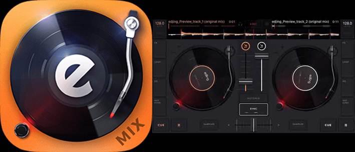 logo y escritorio de la aplicacion edjing mix