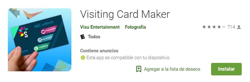 visiting card maker en google play store