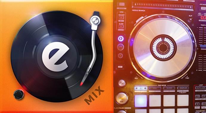 logo de edjing mix música dj mezclador y plato real