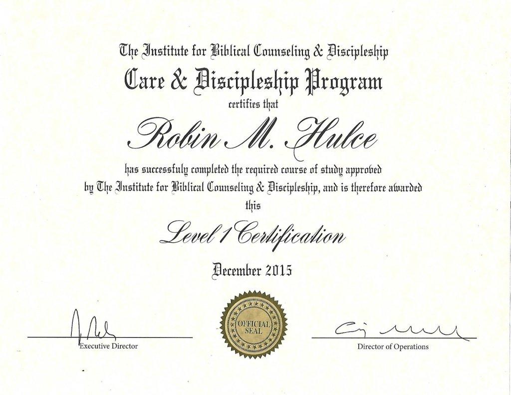 IBCD Level 1 Certification Robin Hulce