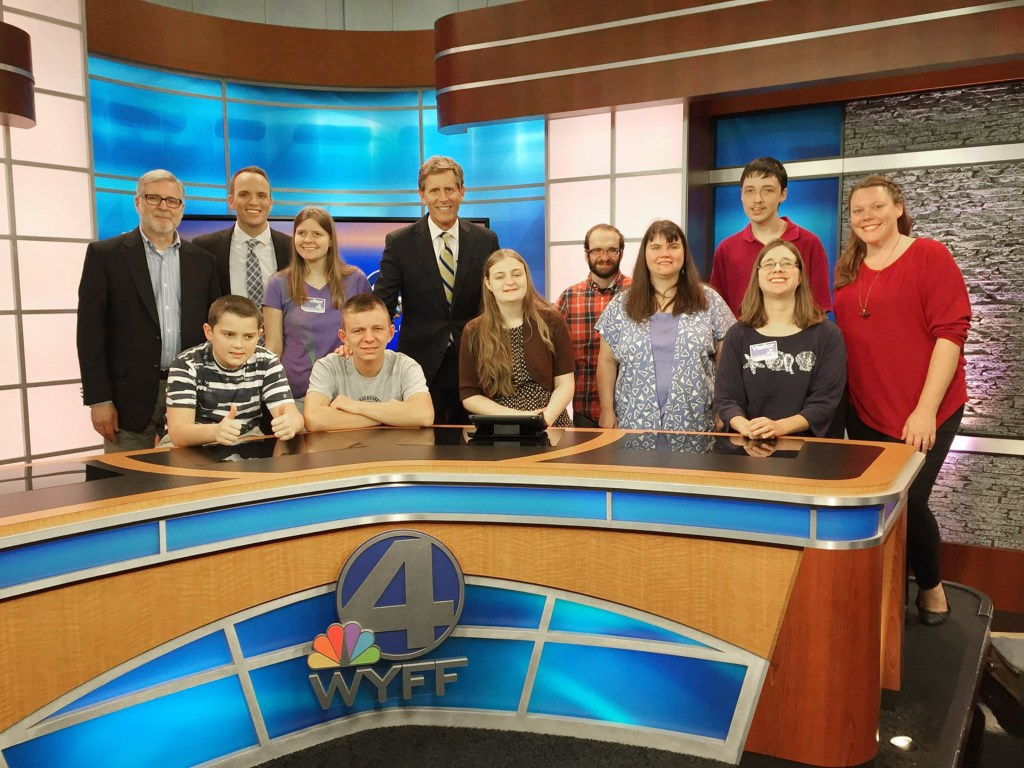 "Members of our Spectrum Theatre group toured WYFF TV 4 (Greenville, SC) and practiced speaking on camera. Hosts Geoff Hart and Chris Justus were very generous to welcome us and take us on a ""behind-the-scenes"" tour. The following week, our group watched the video."
